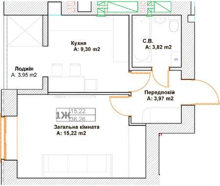 ЖК Фортуна-2: планировка 1-комнатной квартиры 36.26 м2, тип 1Ж