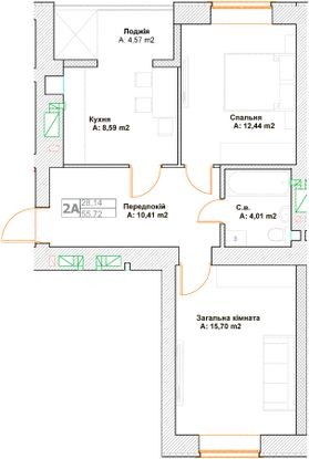 ЖК Фортуна-2: планування 2-кімнатної квартири 55.72 м2, тип 2А