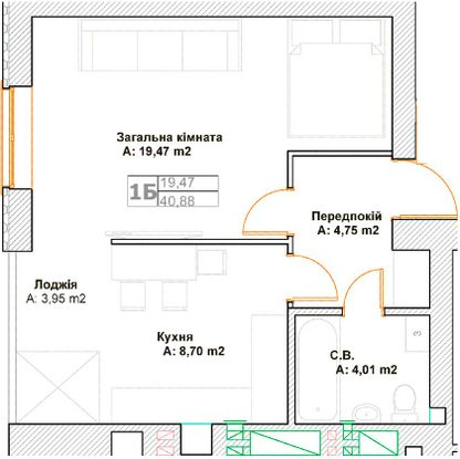 ЖК Фортуна-2: планировка 1-комнатной квартиры 40.88 м2, тип 1Б