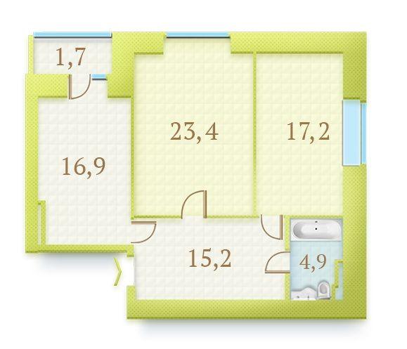ЖК Герцен Парк: планування 2-кімнатної квартири 73.9 м2, тип 2-73.9