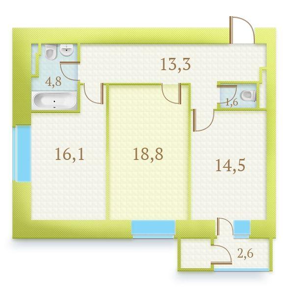 ЖК Герцен Парк: планування 2-кімнатної квартири 71.7 м2, тип 2-71.7