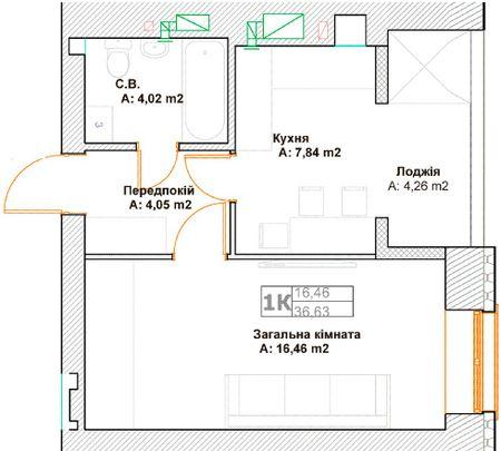 ЖК Фортуна-2: планировка 1-комнатной квартиры 36.63 м2, тип 1К