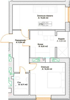 ЖК Фортуна-2: планировка 2-комнатной квартиры 55.64 м2, тип 2Б