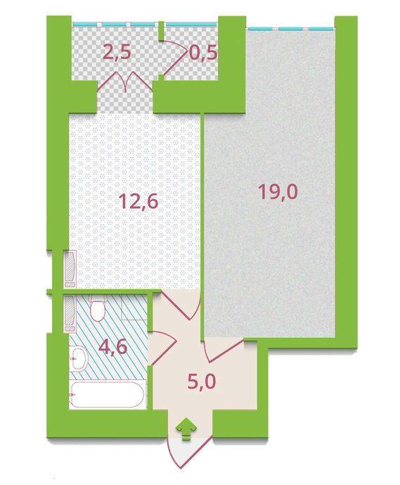ЖК Олександрія: планування 1-кімнатної квартири 44.2 м2, тип 1-Б1