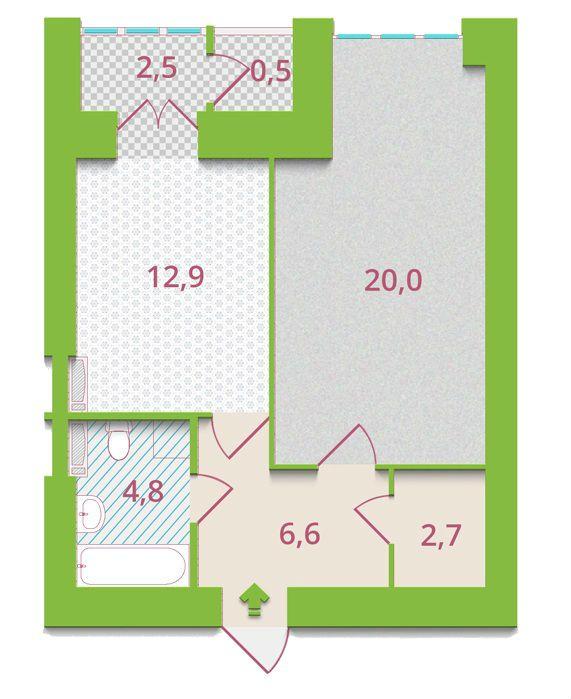 ЖК Олександрія: планування 1-кімнатної квартири 50 м2, тип 1-Г1