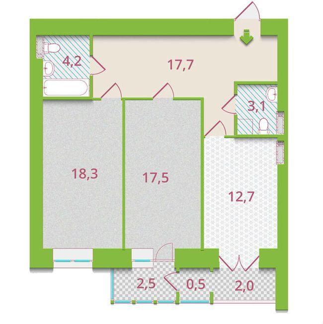 ЖК Александрия: планировка 2-комнатной квартиры 78.5 м2, тип 2-Б1