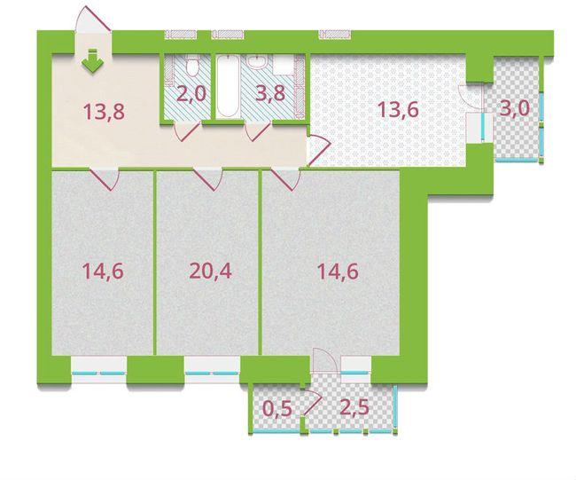 ЖК Олександрія: планування 3-кімнатної квартири 88.8 м2, тип 3-А1