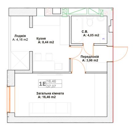 ЖК Фортуна-2: планировка 1-комнатной квартиры 37.07 м2, тип 1Е