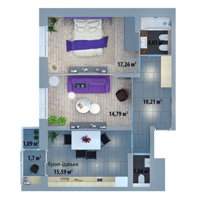 ЖК Солом'янська, 20А: планування 2-кімнатної квартири 65.74 м2, тип 2-65.74