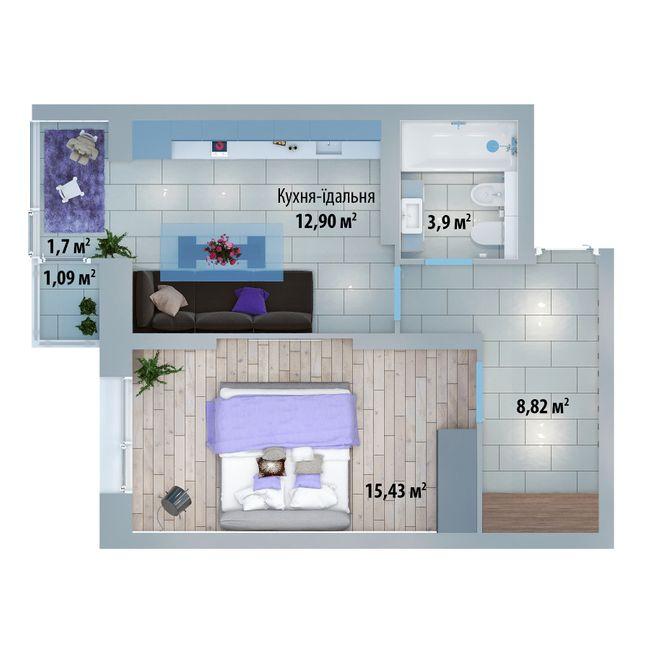 ЖК Солом'янська, 20А: планування 1-кімнатної квартири 43.35 м2, тип 1-43.35