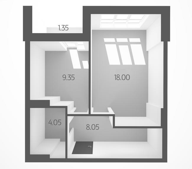 ЖК L-квартал: планировка 1-комнатной квартиры 40.8 м2, тип 1E