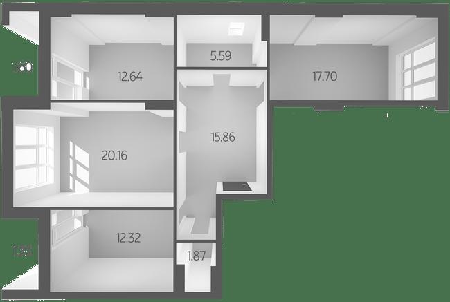 ЖК L-квартал: планування 3-кімнатної квартири 89.09 м2, тип 3E