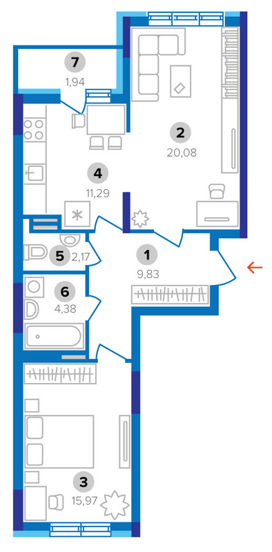 ЖК Наш будинок: планування 2-кімнатної квартири 65.66 м2, тип 2Б