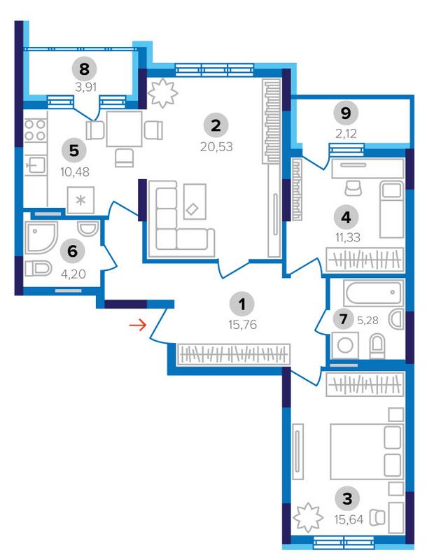 ЖК Наш будинок: планування 3-кімнатної квартири 89.25 м2, тип 3А