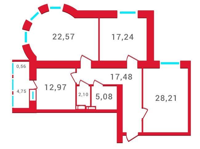 ЖК Новомостицкий: планировка 3-комнатной квартиры 104.7 м2, тип 3-104.7