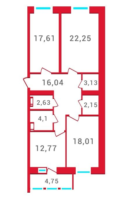 ЖК Новомостицкий: планировка 3-комнатной квартиры 103.44 м2, тип 3-103.44