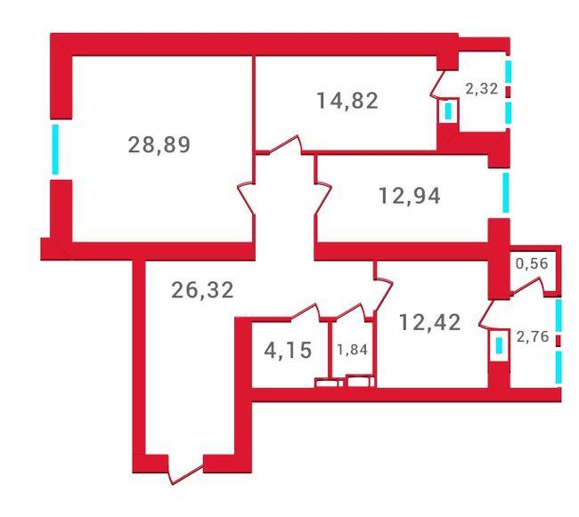 ЖК Новомостицкий: планировка 3-комнатной квартиры 107.02 м2, тип 3-107.02