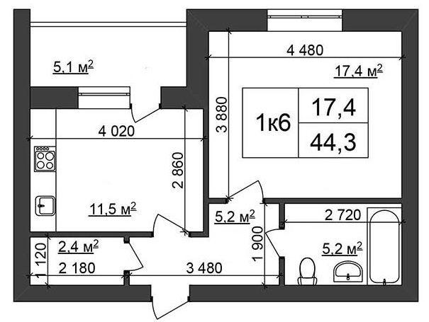 ЖК Сырецкий парк: планировка 1-комнатной квартиры 44.3 м2, тип 1к6
