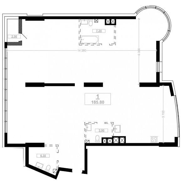 ЖК Busov Hill: планування 4-кімнатної квартири 185.8 м2, тип A