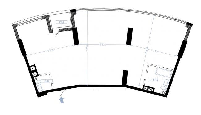 ЖК Busov Hill: планування 3-кімнатної квартири 125.5 м2, тип G