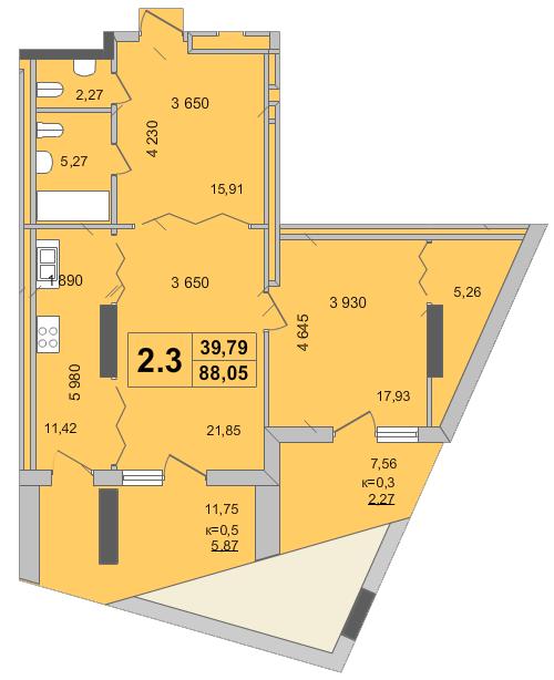 Клубный дом «Гоголевская, 47»: планировка 2-комнатной квартиры 88.05 м2, тип 2.3