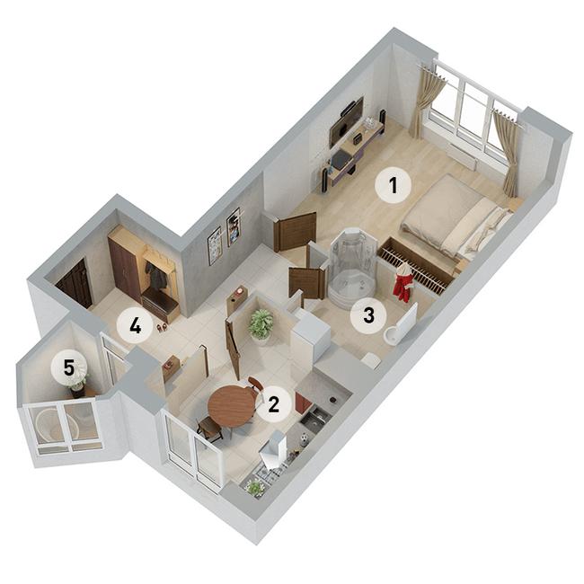 ул. Армянська, 6: планування 1-кімнатної квартири 49.72 м2, тип 1-49.72