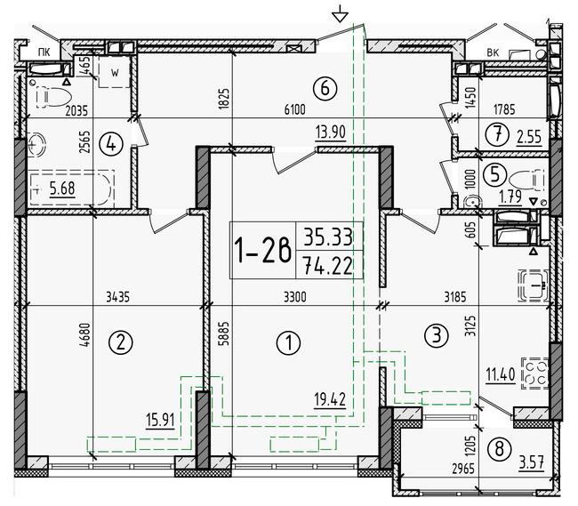 ул. Армянская, 6: планировка 2-комнатной квартиры 74.22 м2, тип 2-74.22