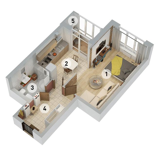 ул. Армянская, 6: планировка 1-комнатной квартиры 46.93 м2, тип 1-46.93