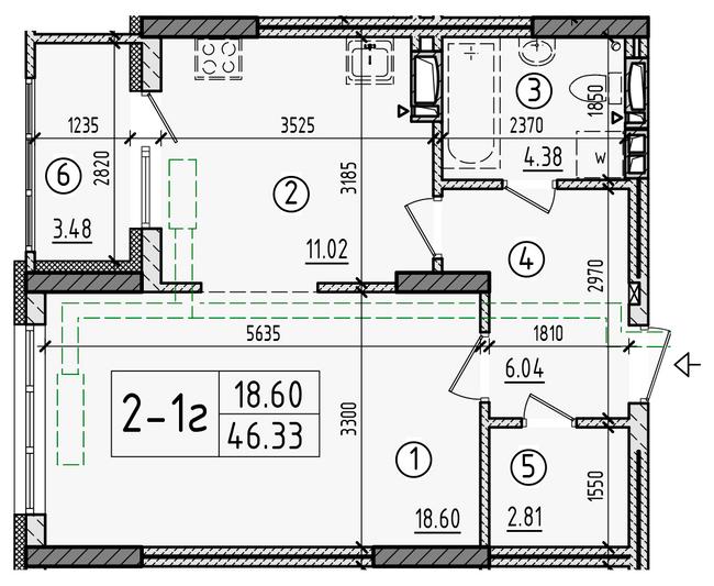 ул. Армянська, 6: планування 1-кімнатної квартири 46.33 м2, тип 1-46.33