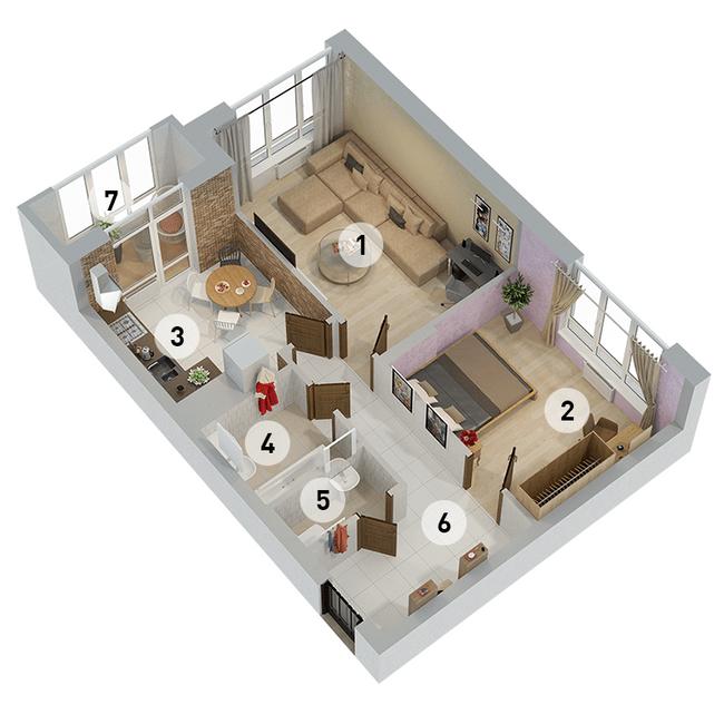 ул. Армянская, 6: планировка 2-комнатной квартиры 63.46 м2, тип 2-63.46