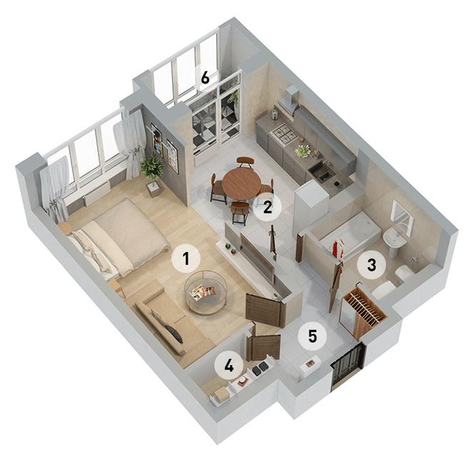 ул. Армянська, 6: планування 1-кімнатної квартири 48.6 м2, тип 1-48.6
