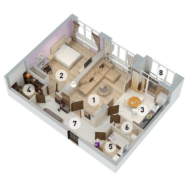 ул. Армянская, 6: планировка 2-комнатной квартиры 74.48 м2, тип 2-74.48