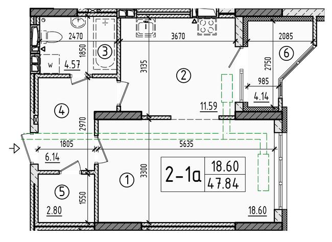 ул. Армянська, 6: планування 1-кімнатної квартири 47.84 м2, тип 1-47.84