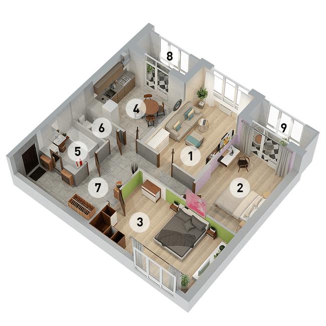 ул. Армянская, 6: планировка 3-комнатной квартиры 102.45 м2, тип 3-102.45