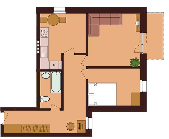 ЖК Троицкий: планировка 2-комнатной квартиры 54.75 м2, тип 2-54.75