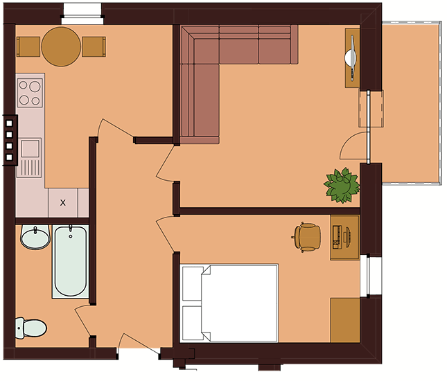 ЖК Троицкий: планировка 2-комнатной квартиры 45.7 м2, тип 2-45.7