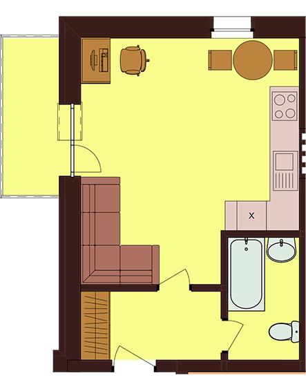 ЖК Троїцький: планування 1-кімнатної квартири 30.2 м2, тип 1-30.2