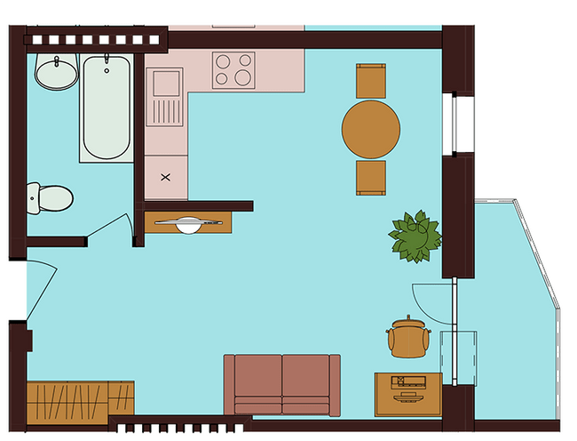 ЖК Троицкий: планировка 1-комнатной квартиры 31.52 м2, тип 1-31.52