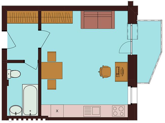 ЖК Троїцький: планування 1-кімнатної квартири 31.52 м2, тип 1-31.52