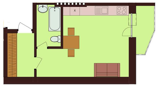 ЖК Троицкий: планировка 1-комнатной квартиры 28.7 м2, тип 1-28.7
