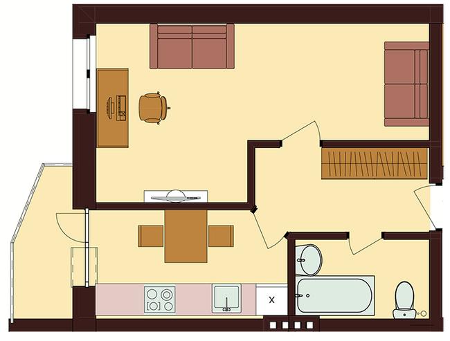 ЖК Троицкий: планировка 1-комнатной квартиры 36.22 м2, тип 1-36.22