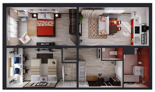ул. Петра Калнышевского (Майорова), 6: планировка 2-комнатной квартиры 67.6 м2, тип 2-67.6