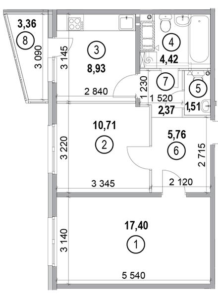 вул. Петра Калнишевського (Майорова), 6: планування 2-кімнатної квартири 53.79 м2, тип 2-53.79
