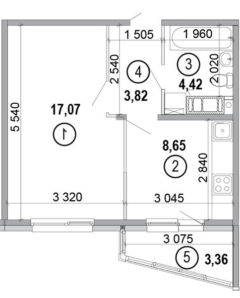 вул. Петра Калнишевського (Майорова), 6: планування 1-кімнатної квартири 36.65 м2, тип 1-36.65