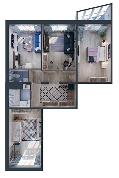 вул. Петра Калнишевського (Майорова), 6: планування 3-кімнатної квартири 85.09 м2, тип 3-85.09
