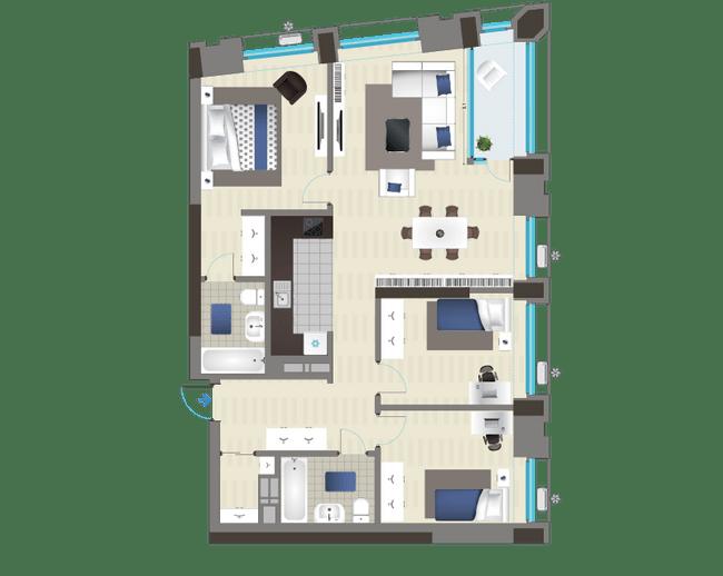 ЖК Славутич: планировка 3-комнатной квартиры 97.41 м2, тип 4A