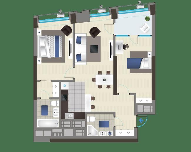 ЖК Славутич: планировка 2-комнатной квартиры 74.47 м2, тип 3C