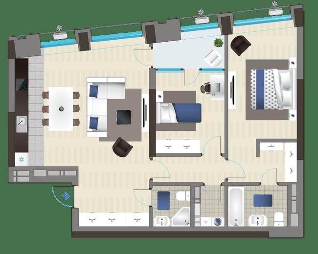 ЖК Славутич: планировка 2-комнатной квартиры 87.53 м2, тип 3B*