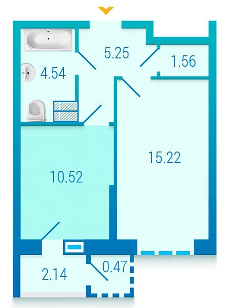 ЖК Вишиванка: планування 1-кімнатної квартири 39.7 м2, тип 1.1