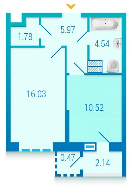 ЖК Вишиванка: планування 1-кімнатної квартири 41.45 м2, тип 1.2